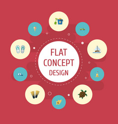 Flat icons sorbet tortoise slippers and other vector