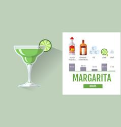 flat style cocktail margarita menu design vector image