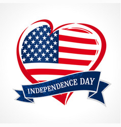 fourth july usa independence day heart banner vector image
