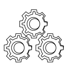 gears machinery pieces cartoon vector image
