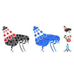 Get rid fleas mosaic icon round dots vector