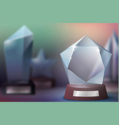 Glass trophy awards winner prizes champion cups vector