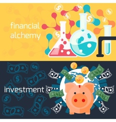Global investment and financial alchemy concept vector