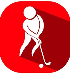 Golf icon on red background vector image