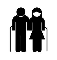 Grandparents couple avatars silhouette style icon vector