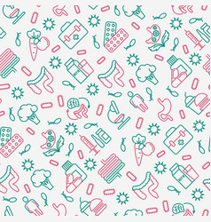 gut flora seamless pattern with thin line icons vector image