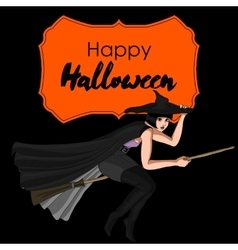 Halloween Card with Witch vector image