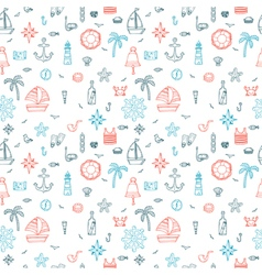 Hand drawn nautical seamless pattern of marine vector image