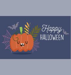 happy halloween funny pumpkin bats foliage trick vector image