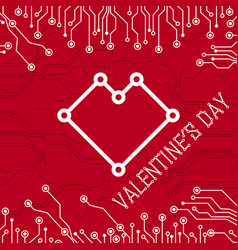 happy valentines day abstract technology vector image