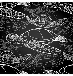 hawksbill sea turtle pattern vector image