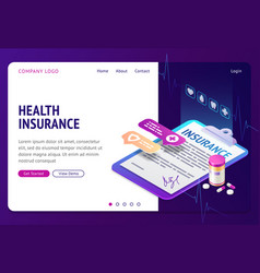 Health insurance isometric landing page banner vector