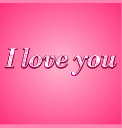 i love you glitter text on pink background vector image