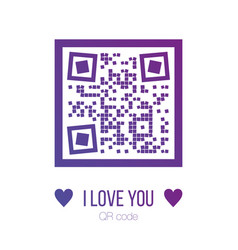i love you qr code in purple color with squares vector image