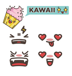 Kawaii sticker strawberry cupcake with emotional vector