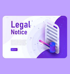 Legal notice landing page template vector