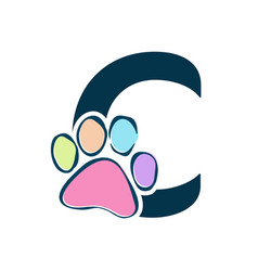 Letter paws c vector