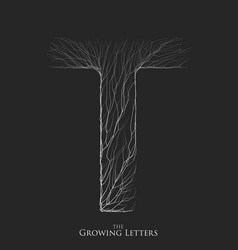 letter t of branch or cracked alphabet t vector image