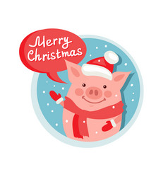 merry christmas flat icon with funny pig santa vector image