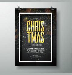 merry christmas party poster design vector image