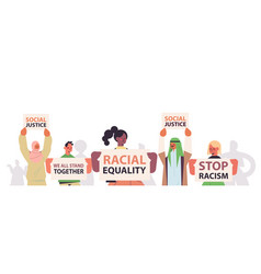 mix race activists holding stop racism posters vector image
