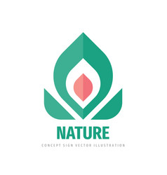 nature flower and leaves - concept logo design vector image