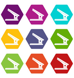 office paper hole puncher icon set color vector image vector image