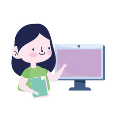 online education student girl with computer and vector image