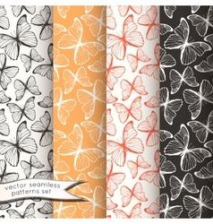 Outline butterflies seamless patterns set vector image