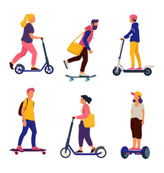 people riding personal transporters vector image