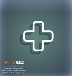 Plus icon symbol on the blue-green abstract vector image