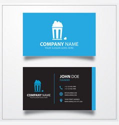 Popcorn icon business card template vector