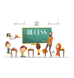 Primary school recess break cartoon vector