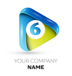Realistic number six logo in colorful triangle vector