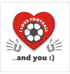 Red heart with an inscription - I love football vector