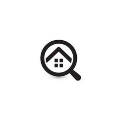 Round shape home rent search app logo real estate vector