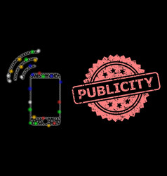 Scratched publicity stamp and mesh cellphone vector