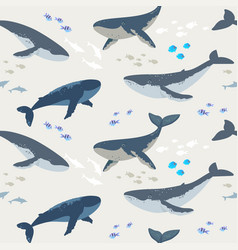 Seamless whales vector