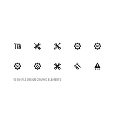set of 10 editable service icons includes symbols vector image