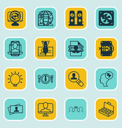 set of 16 business management icons includes vector image