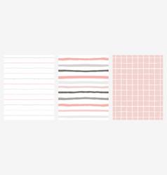 set of 3 hand drawn irregular geometric patterns vector image