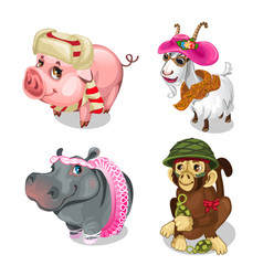 set of funny little animals in clothes vector image