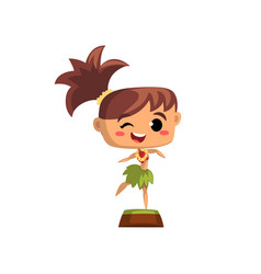 Smiling girl dancing in traditional hawaiian vector