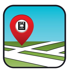 Street map icon with the pointer ATM vector image