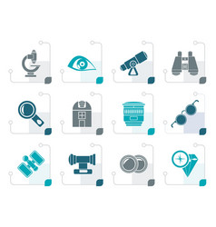 Stylized optic and lens equipment icons vector