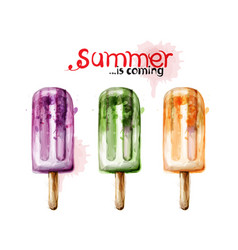summer ice cream watercolor colorful juicy vector image
