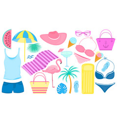summer set decorative items for a beach vector image
