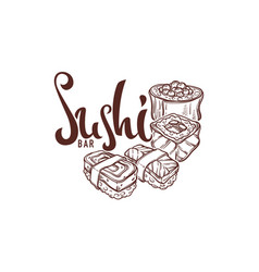 Sushi hand drawn sketches for your japanese vector