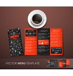 The mockup of the coffee menu with a cup of coffee vector