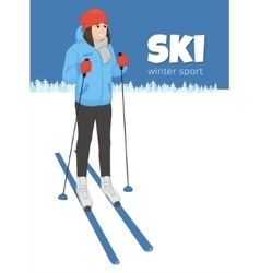 The young animation girl costs on skis Winter vector image